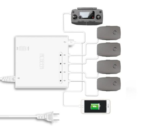 DJI Mavic 2 Pro/Zoom - 6in1 Battery Charger With 65% Storage Charging Mode 1